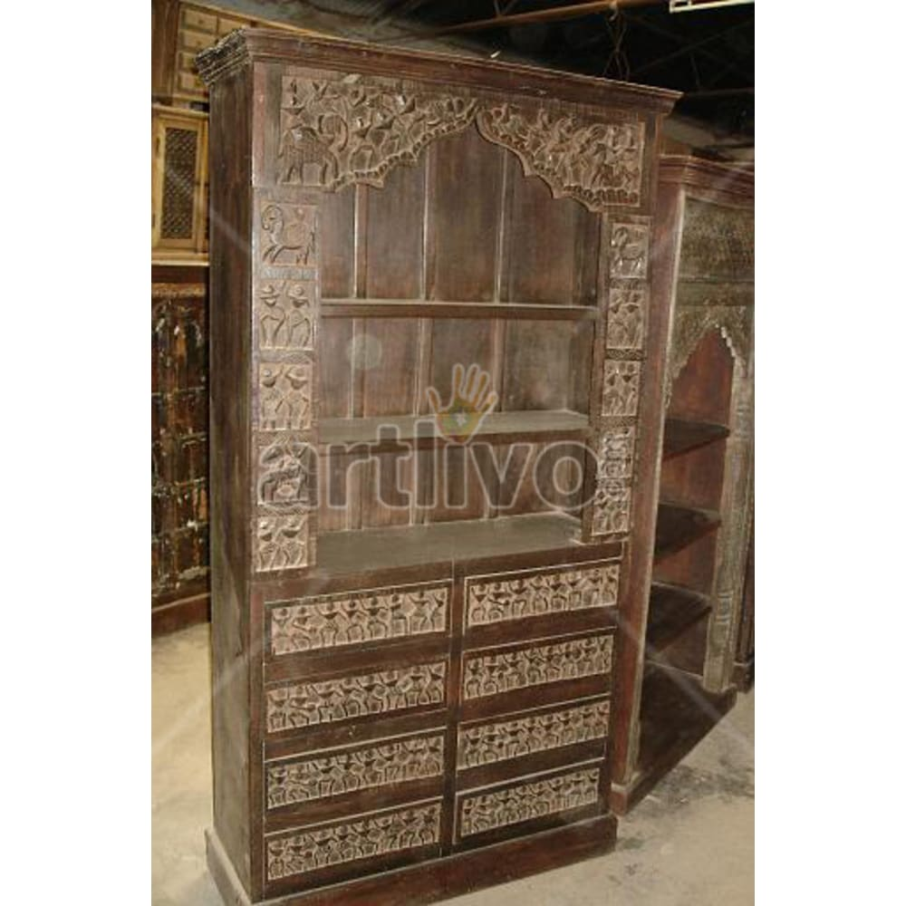 Antique Indian Chiselled Aristocratic Solid Wooden Teak Bookshelf