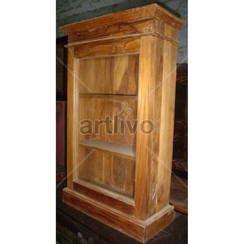 Antique Indian Engraved Rich Solid Wooden Teak Bookshelf