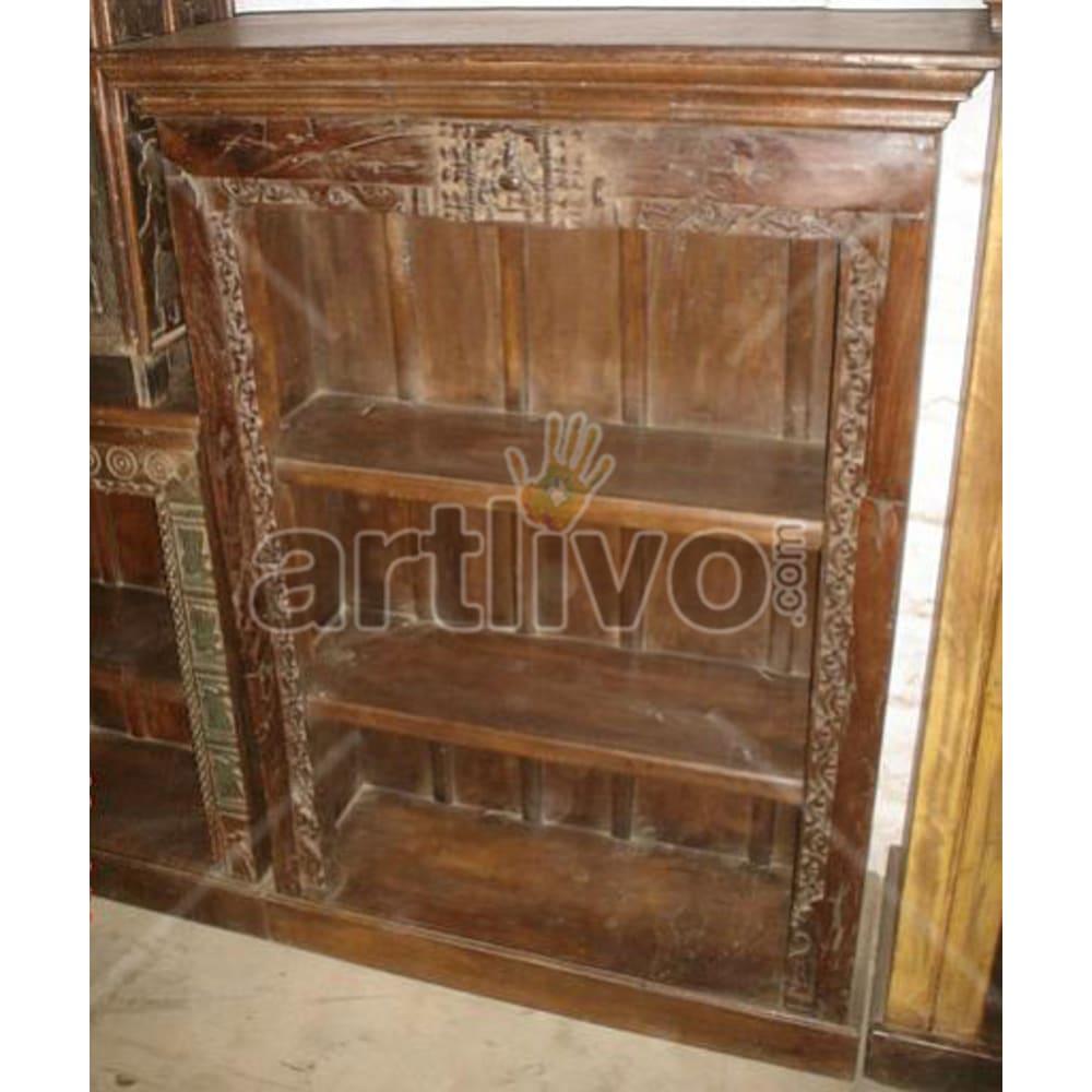Antique Indian Engraved Extravagant Solid Wooden Teak Bookshelf