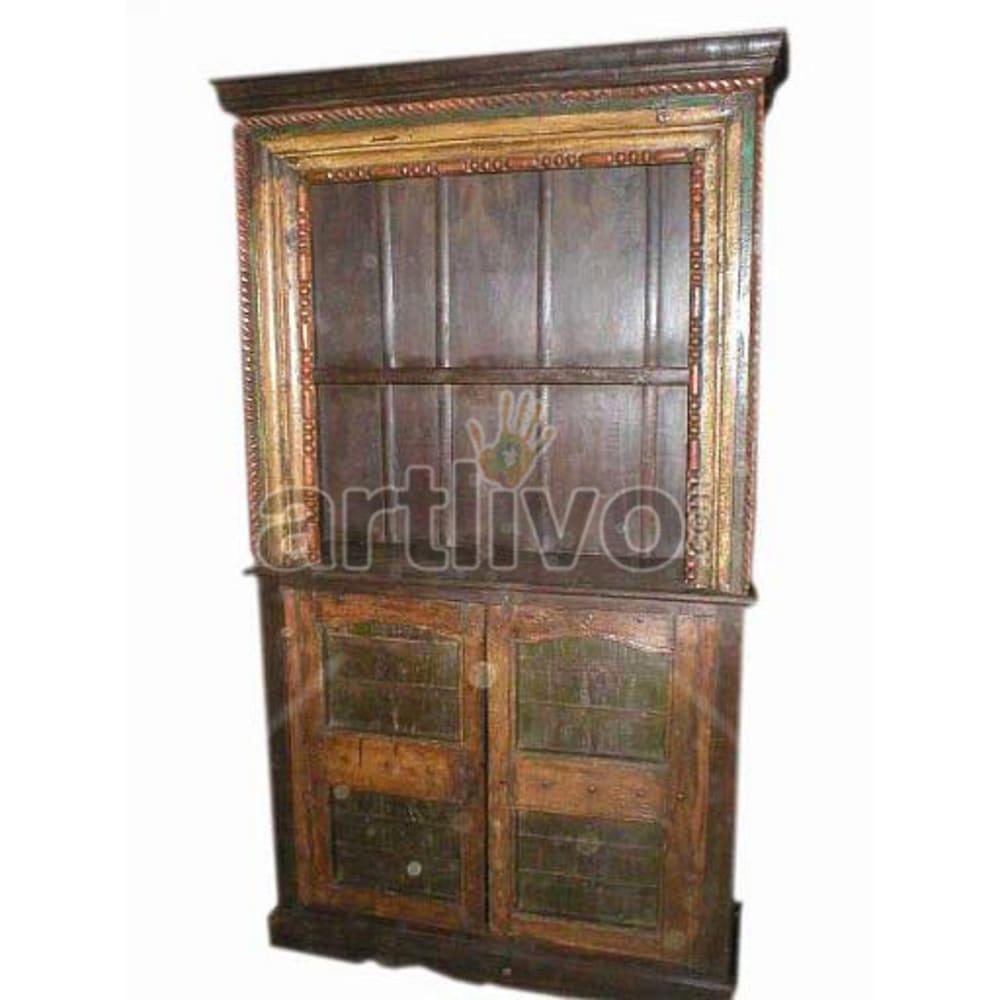 Antique Indian Engraved Splendid Solid Wooden Teak Bookshelf