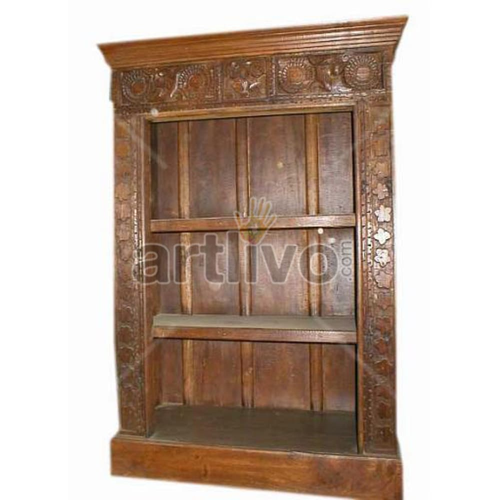 Antique Indian Sculpted Deluxe Solid Wooden Teak Bookshelf