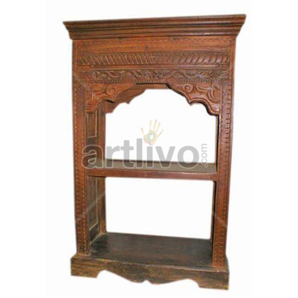 Antique Indian Sculpted Extravagant Solid Wooden Teak Bookshelf