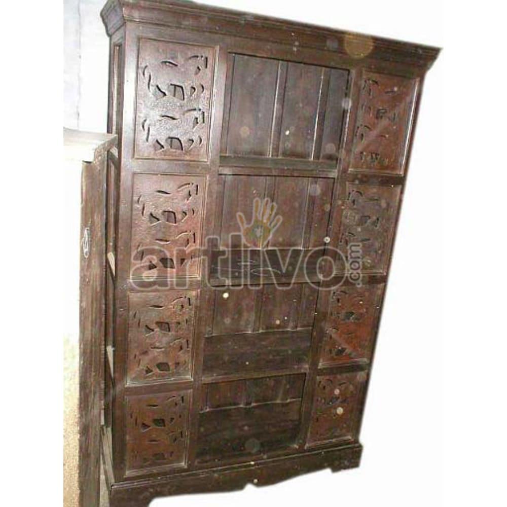 Antique Indian Sculpted Supreme Solid Wooden Teak Bookshelf