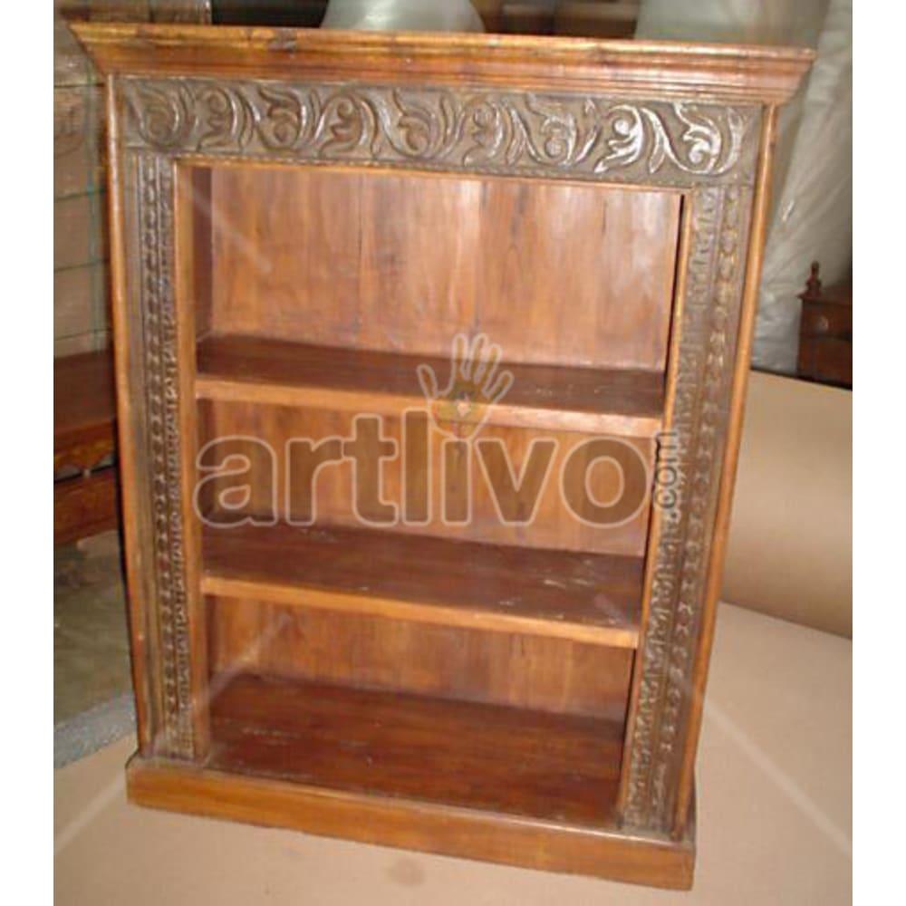 Antique Indian Sculptured Palatial Solid Wooden Teak Bookshelf