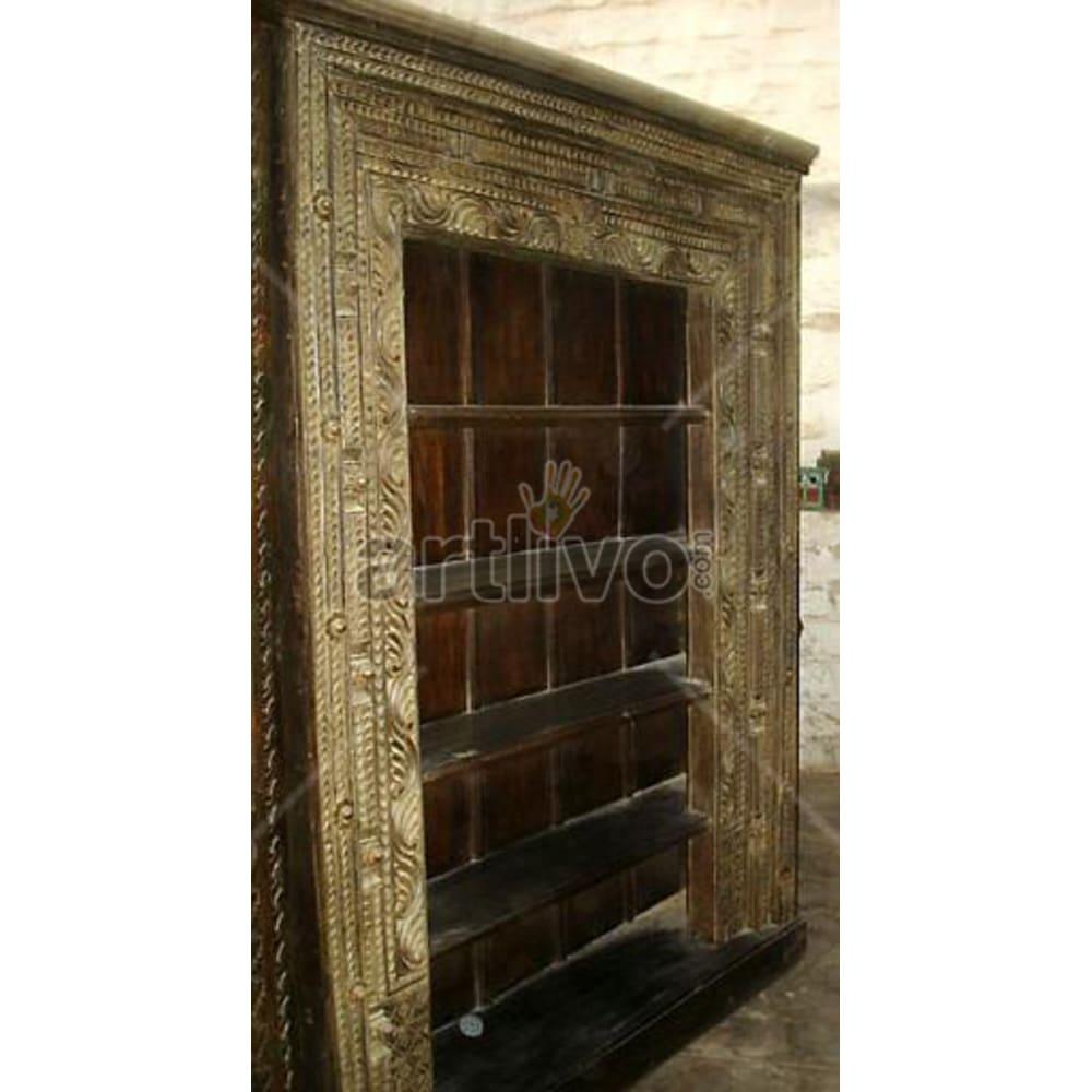 Antique Indian Beautiful Extravagant Solid Wooden Teak Bookshelf