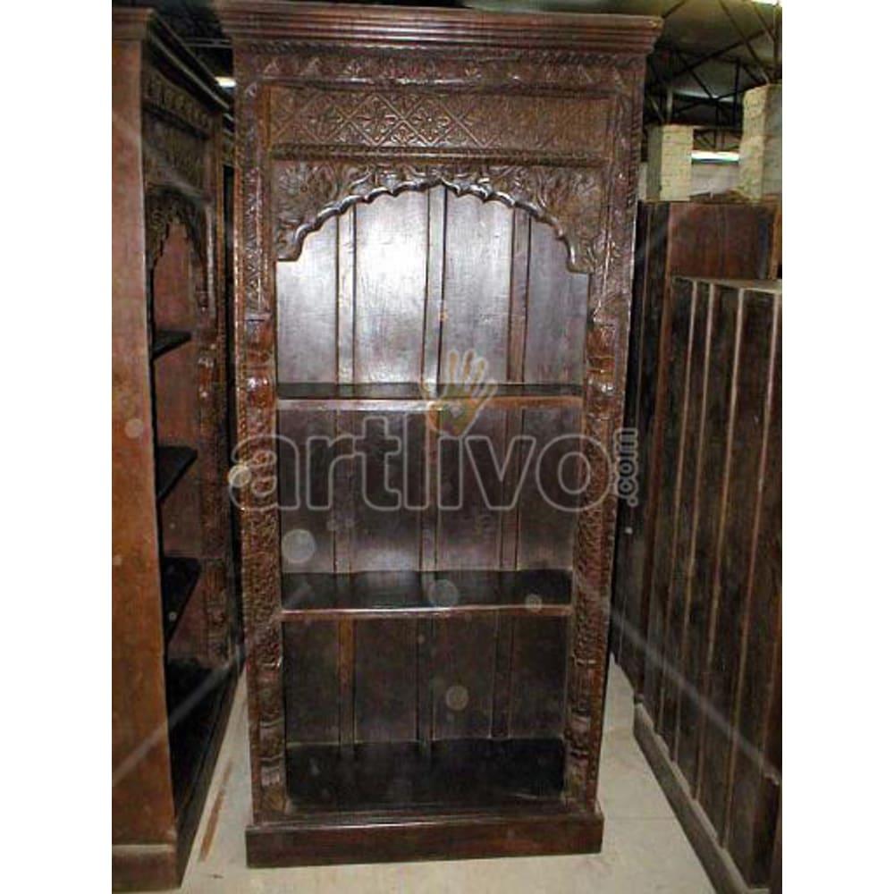 Antique Indian Beautiful Lavish Solid Wooden Teak Bookshelf