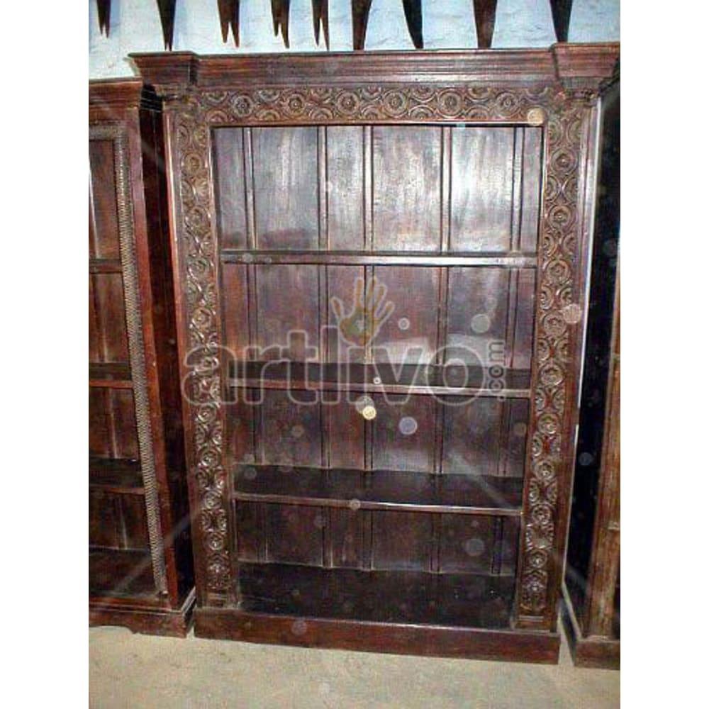 Antique Indian Beautiful Supreme Solid Wooden Teak Bookshelf