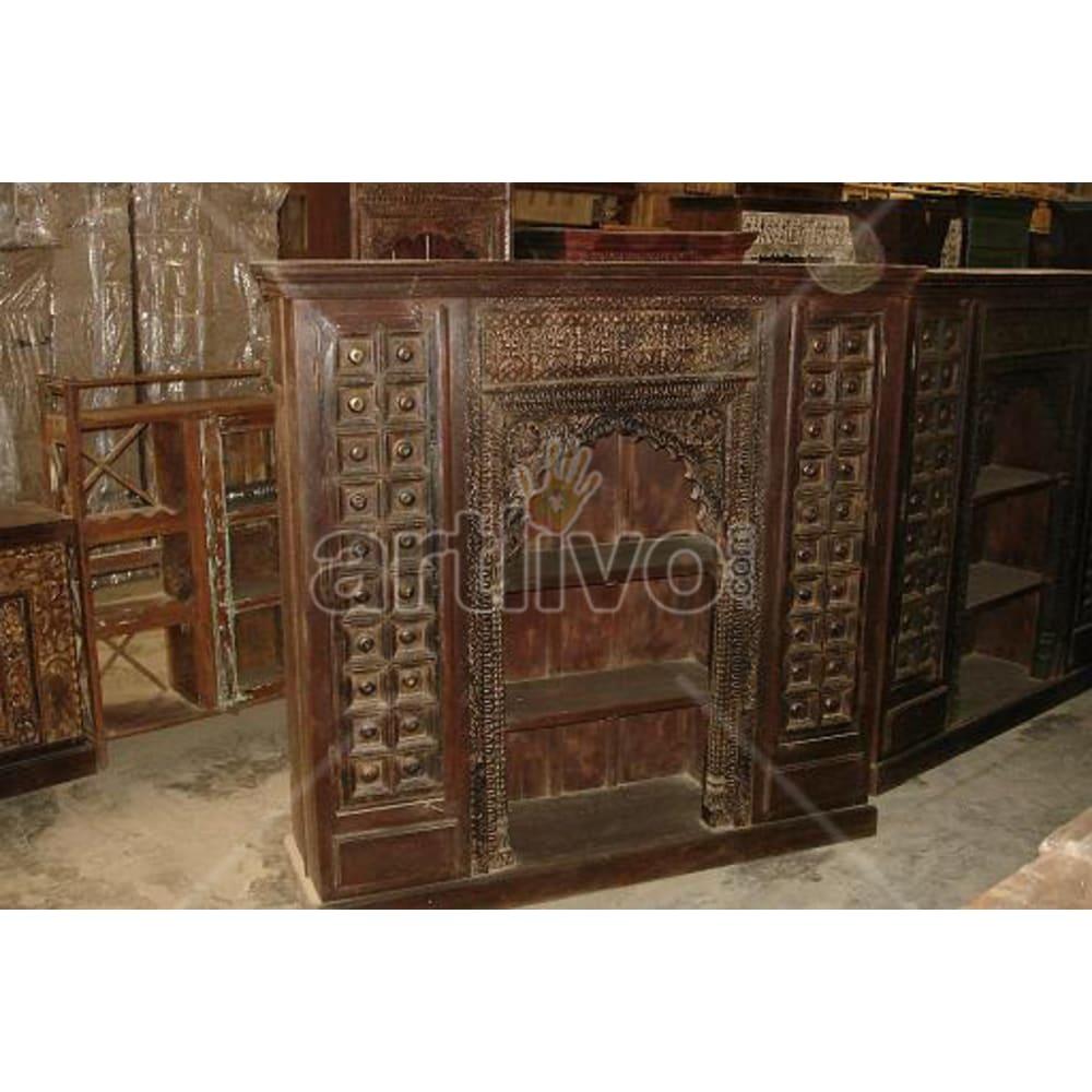Old Indian Carved Lavish Solid Wooden Teak Bookshelf