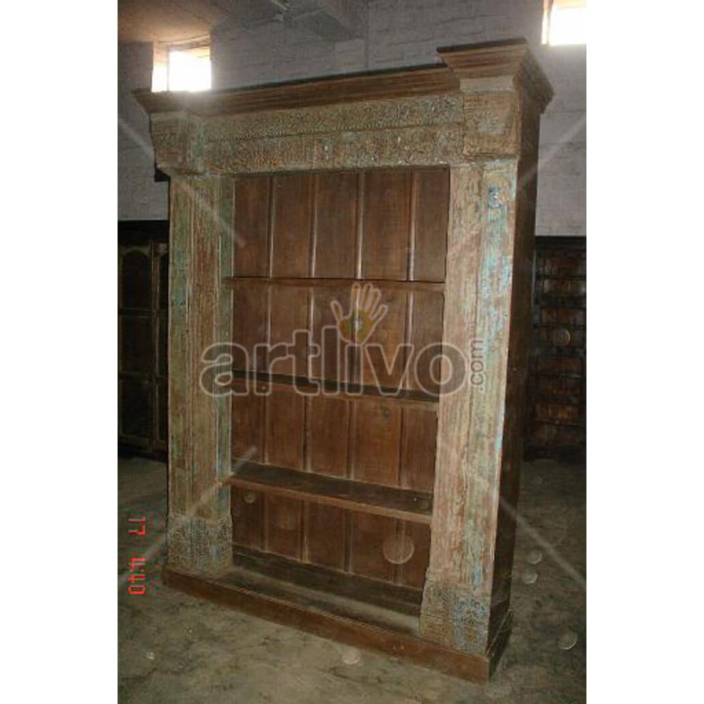 Old Indian Carved Stately Solid Wooden Teak Bookshelf