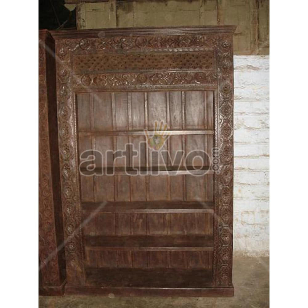 Old Indian Carved Supreme Solid Wooden Teak Bookshelf