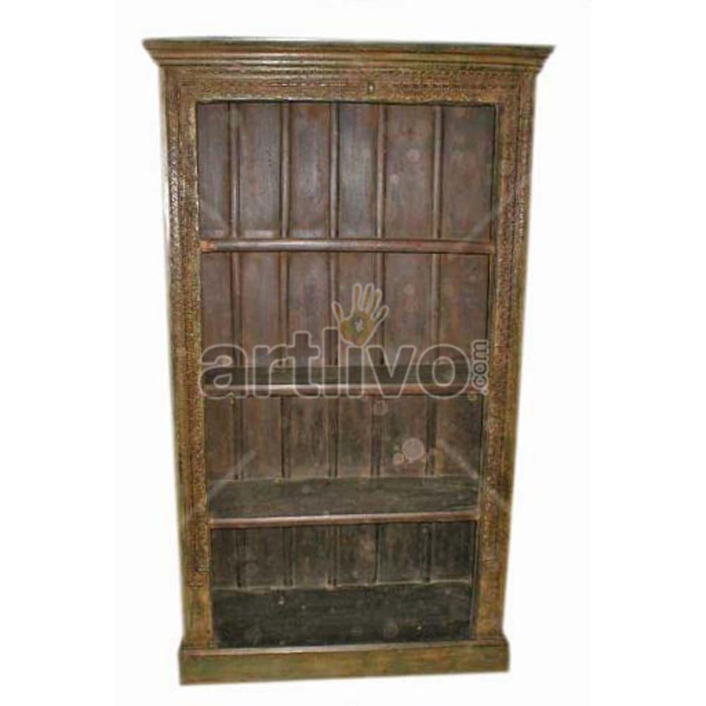 Old Indian Carved Splendid Solid Wooden Teak Bookshelf