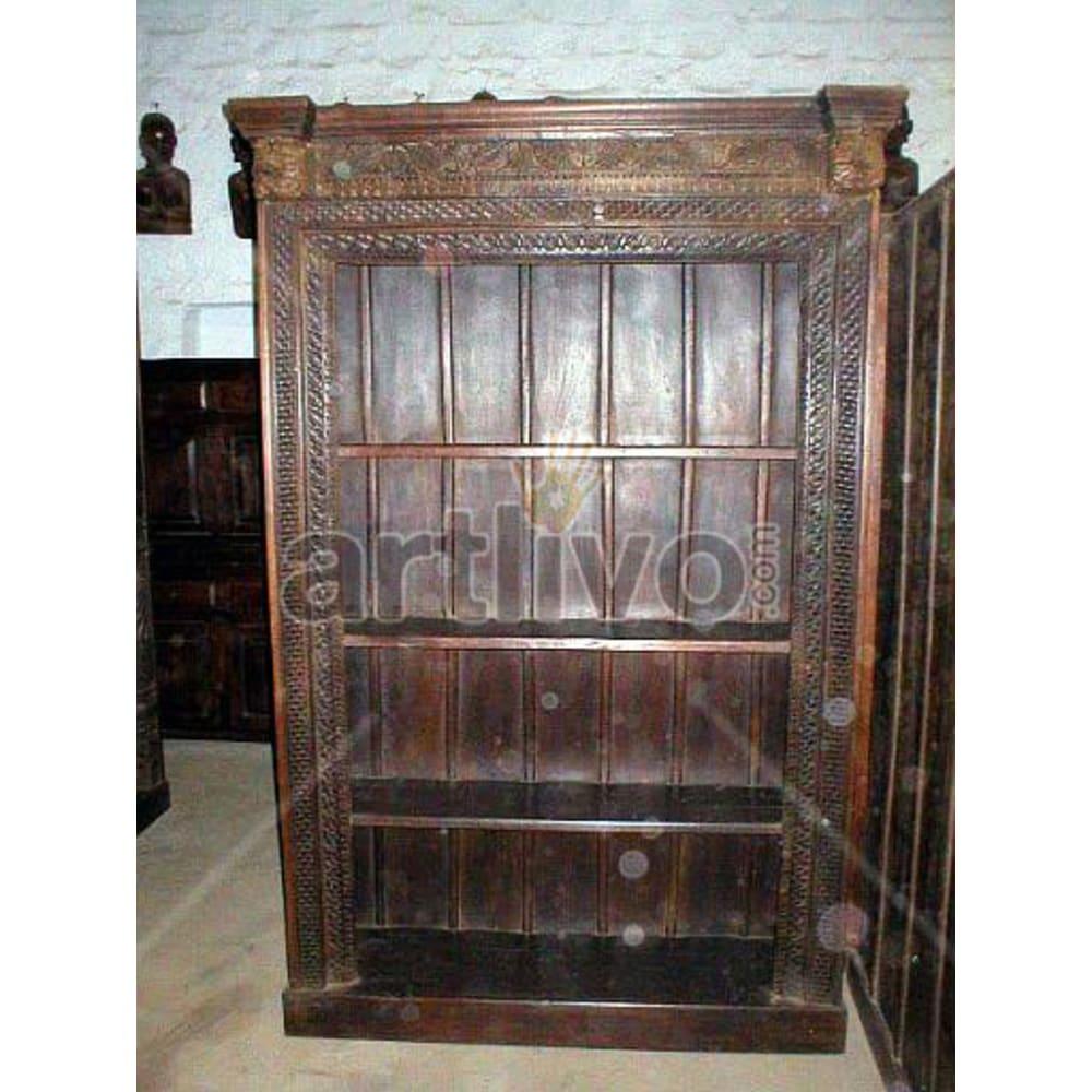 Old Indian Brown Noble Solid Wooden Teak Bookshelf