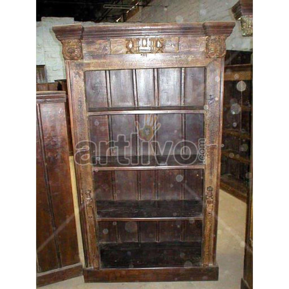 Old Indian Brown Superb Solid Wooden Teak Bookshelf