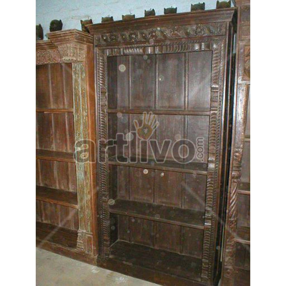 Old Indian Chiselled Extravagant Solid Wooden Teak Bookshelf