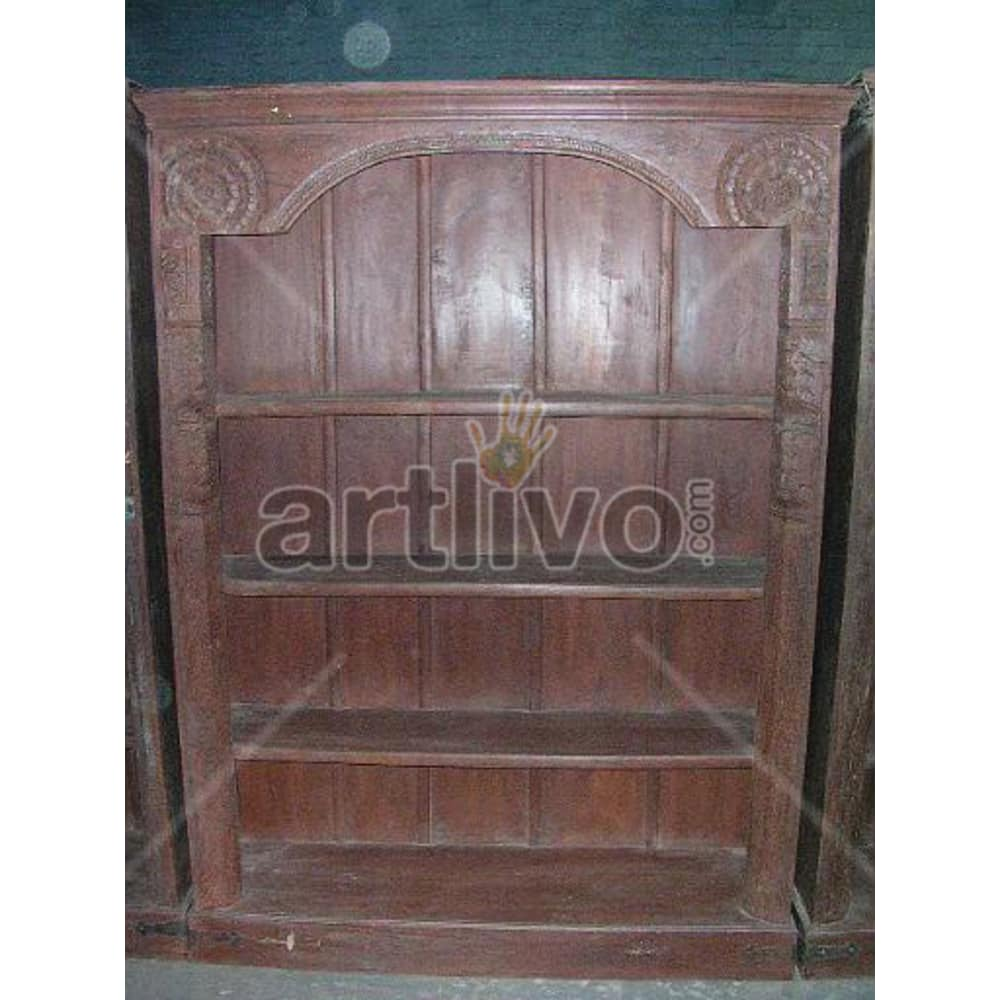 Old Indian Chiselled Lavish Solid Wooden Teak Bookshelf