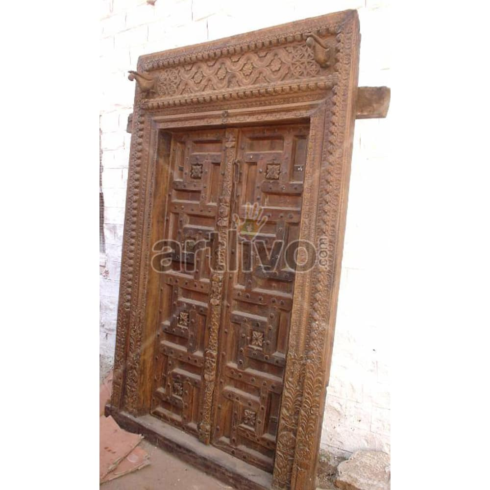 Vintage Indian Carved Lavish Solid Wooden Teak Door
