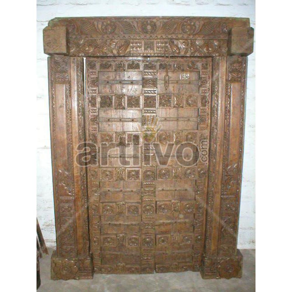 Vintage Indian Chiselled Extravagant Solid Wooden Teak Door