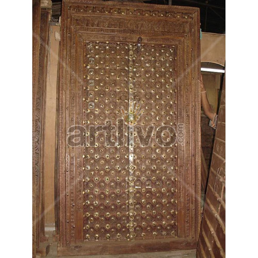 Vintage Indian Chiselled Marvellous Solid Wooden Teak Door