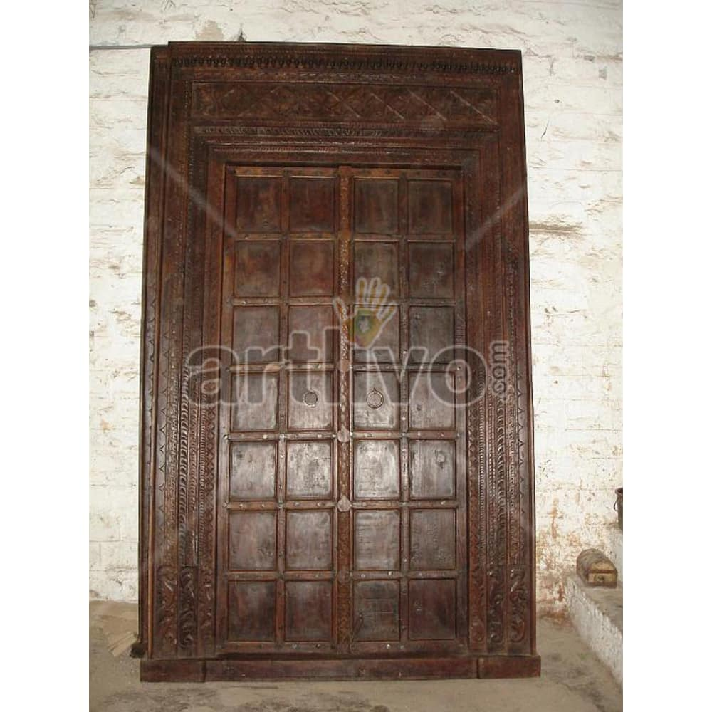 Vintage Indian Engraved Royal Solid Wooden Teak Door