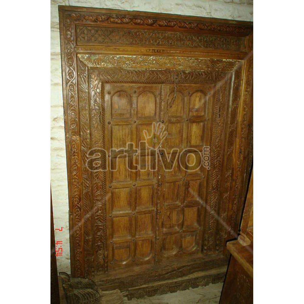 Vintage Indian Sculpted Extravagant Solid Wooden Teak Door