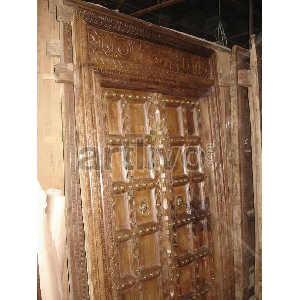 Vintage Indian Sculptured Rich Solid Wooden Teak Door