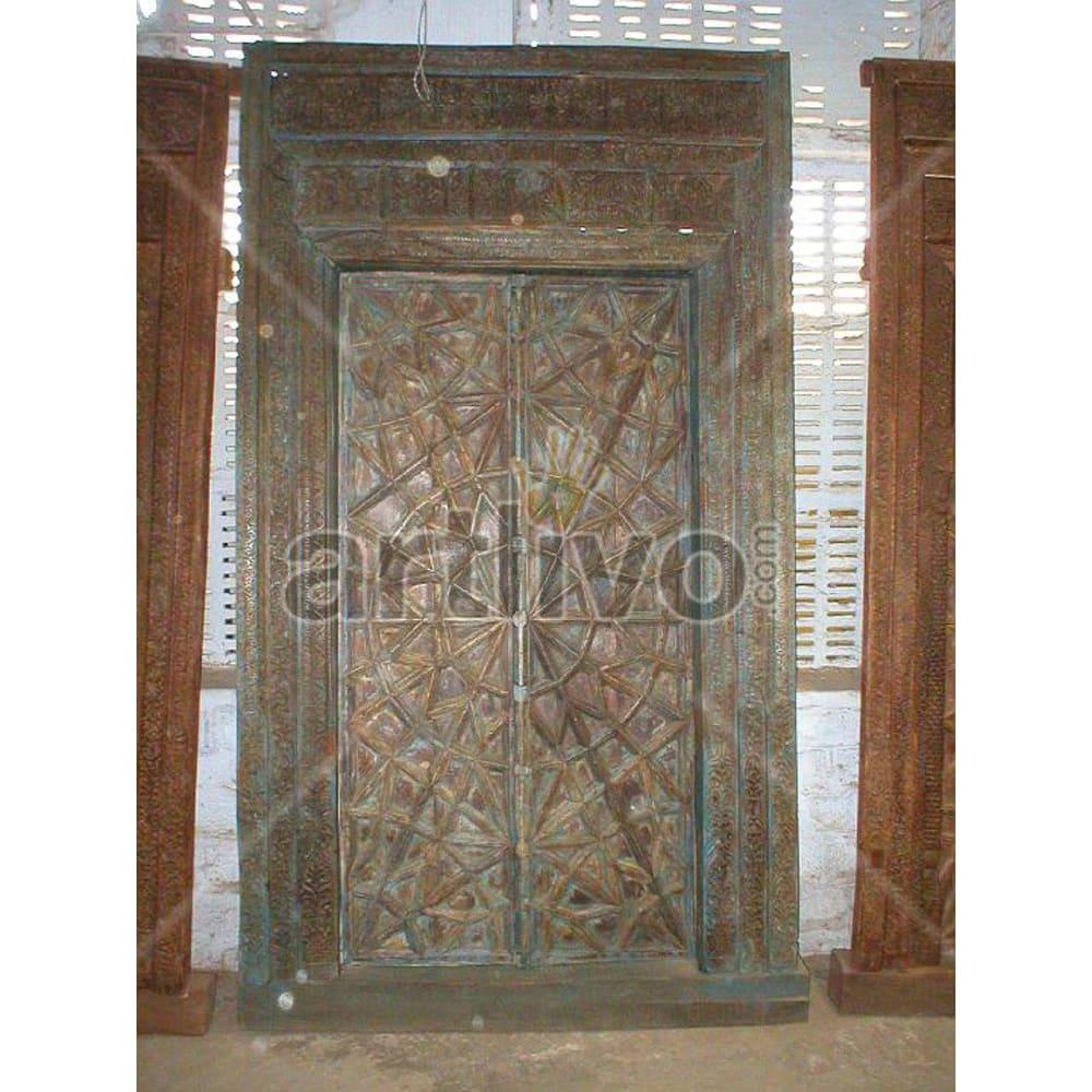 Vintage Indian Sculptured Supreme Solid Wooden Teak Door