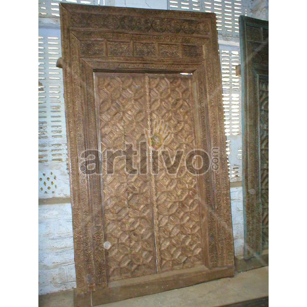 Vintage Indian Sculptured Splendid Solid Wooden Teak Door