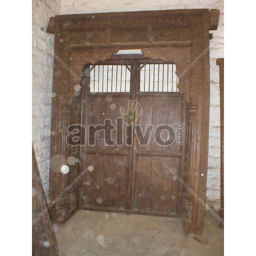 Vintage Indian Beautiful Extravagant Solid Wooden Teak Door