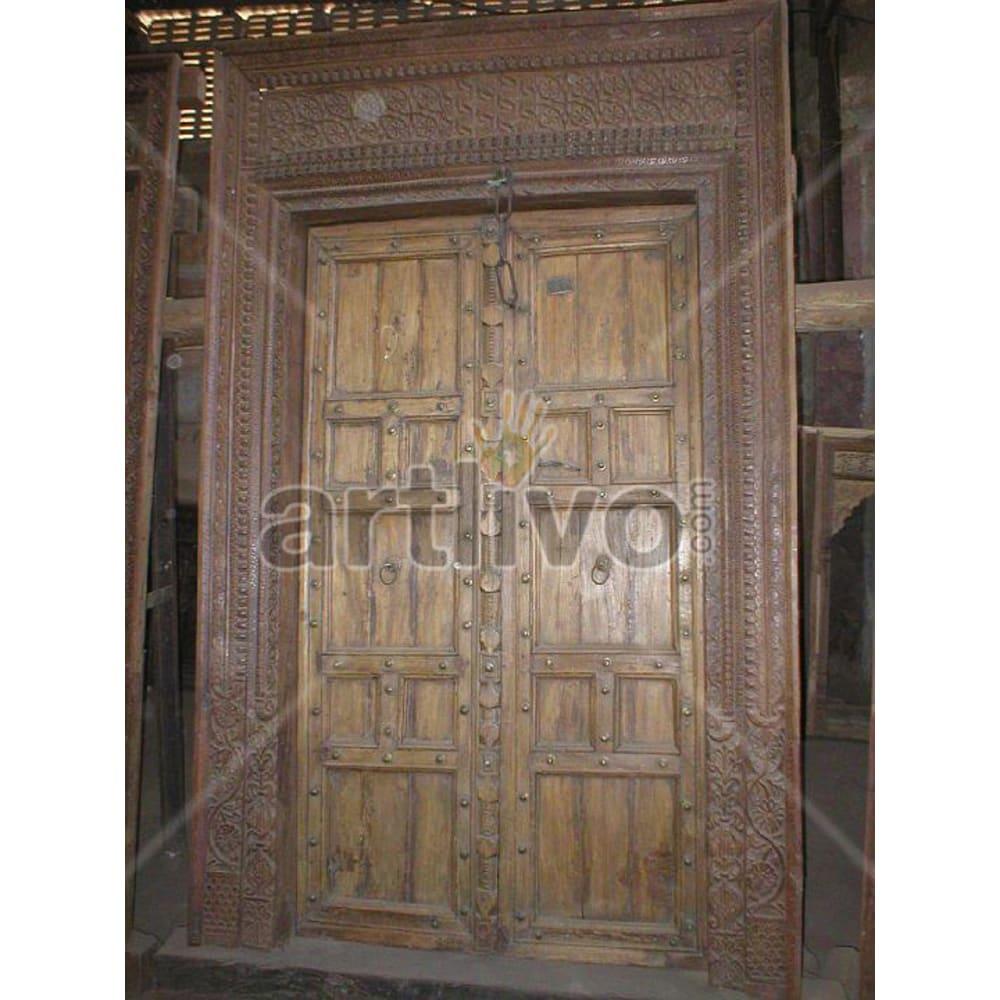 Vintage Indian Beautiful Stately Solid Wooden Teak Door