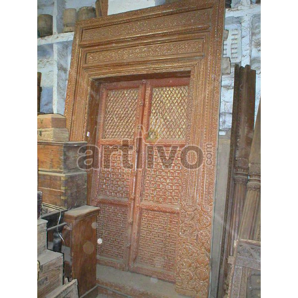 Vintage Indian Beautiful Superb Solid Wooden Teak Door