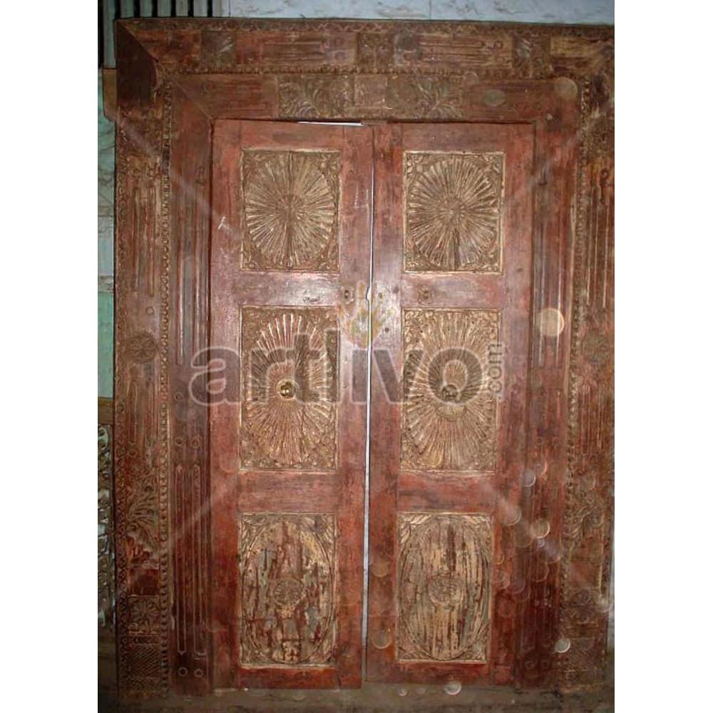 Antique Indian Carved Superb Solid Wooden Teak Door