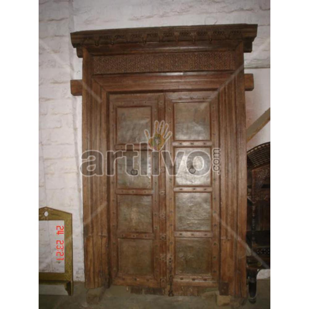 Antique Indian Brown Deluxe Solid Wooden Teak Door