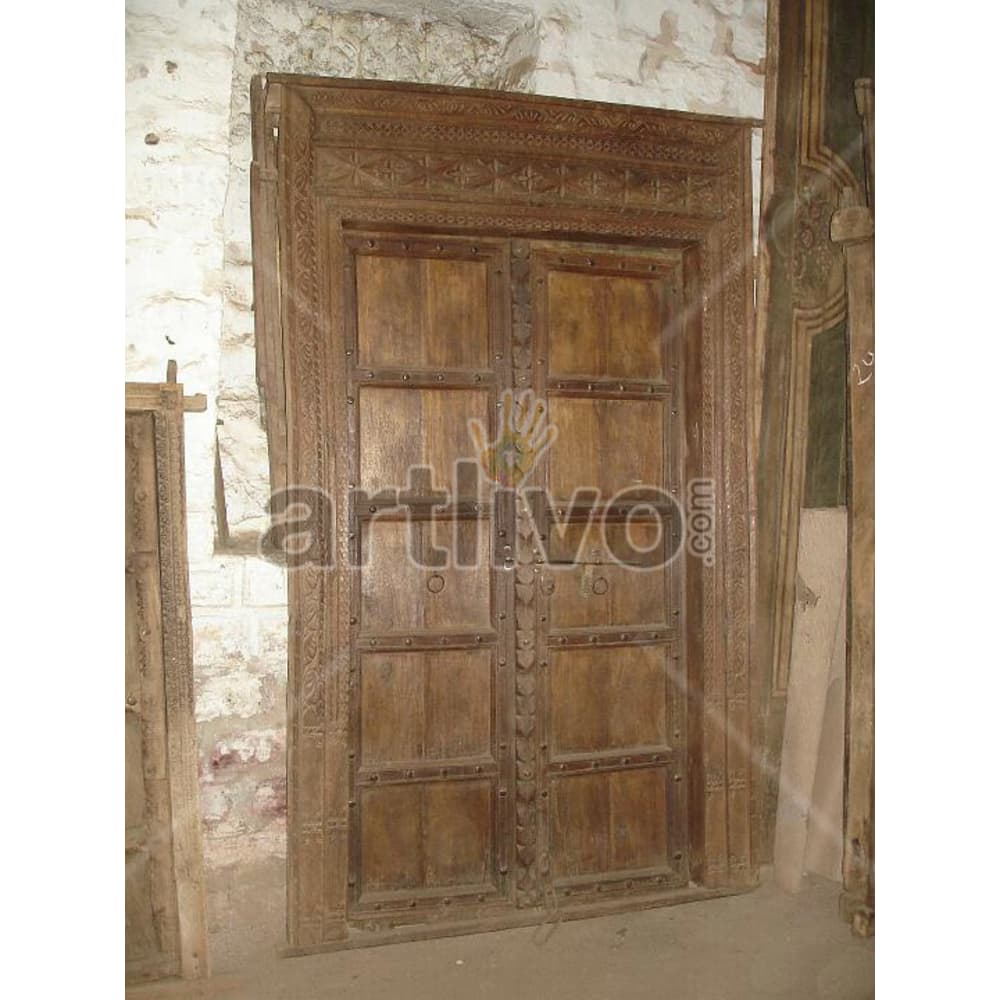 Antique Indian Engraved Noble Solid Wooden Teak Door