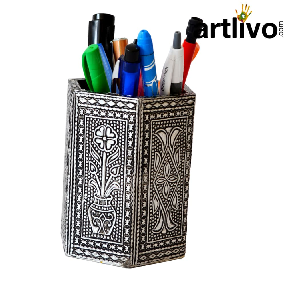 UBER ELEGANT Silver antique Hexagon Pen Holder