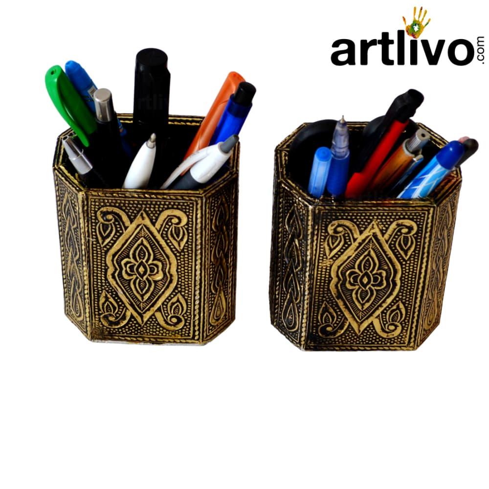 UBER ELEGANT Golden colored antique Pen Holder - Set Of 2