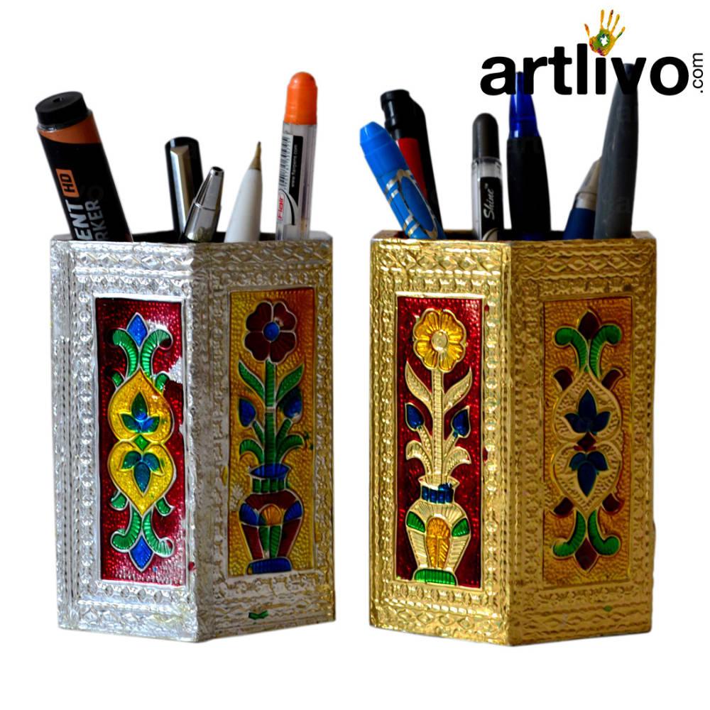UBER ELEGANT Silver & Golden Metal Multicolor Hexagon Pen Holder Set of 2