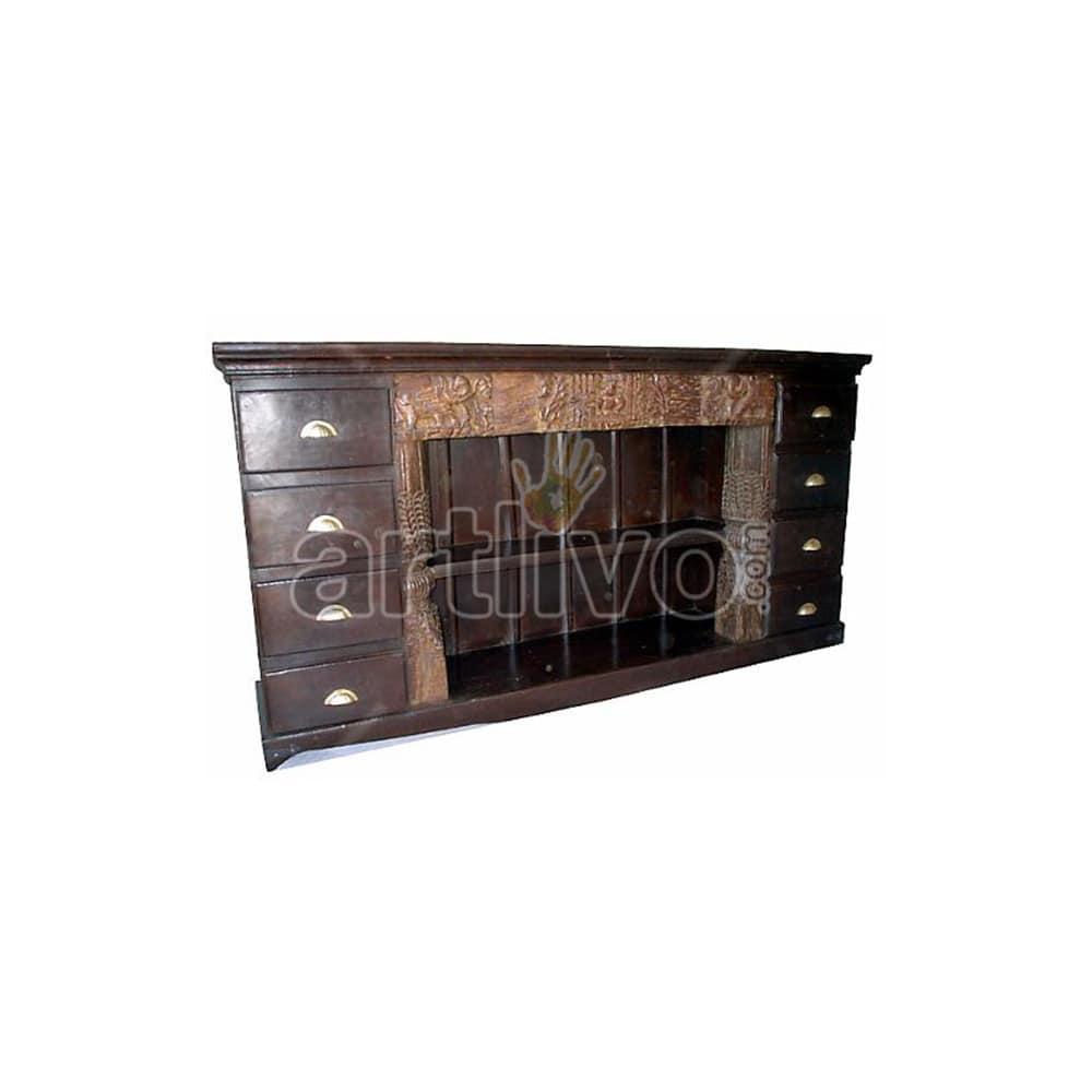 Vintage Indian Carved Palatial Solid Wooden Teak Sideboard with 8 Drawer
