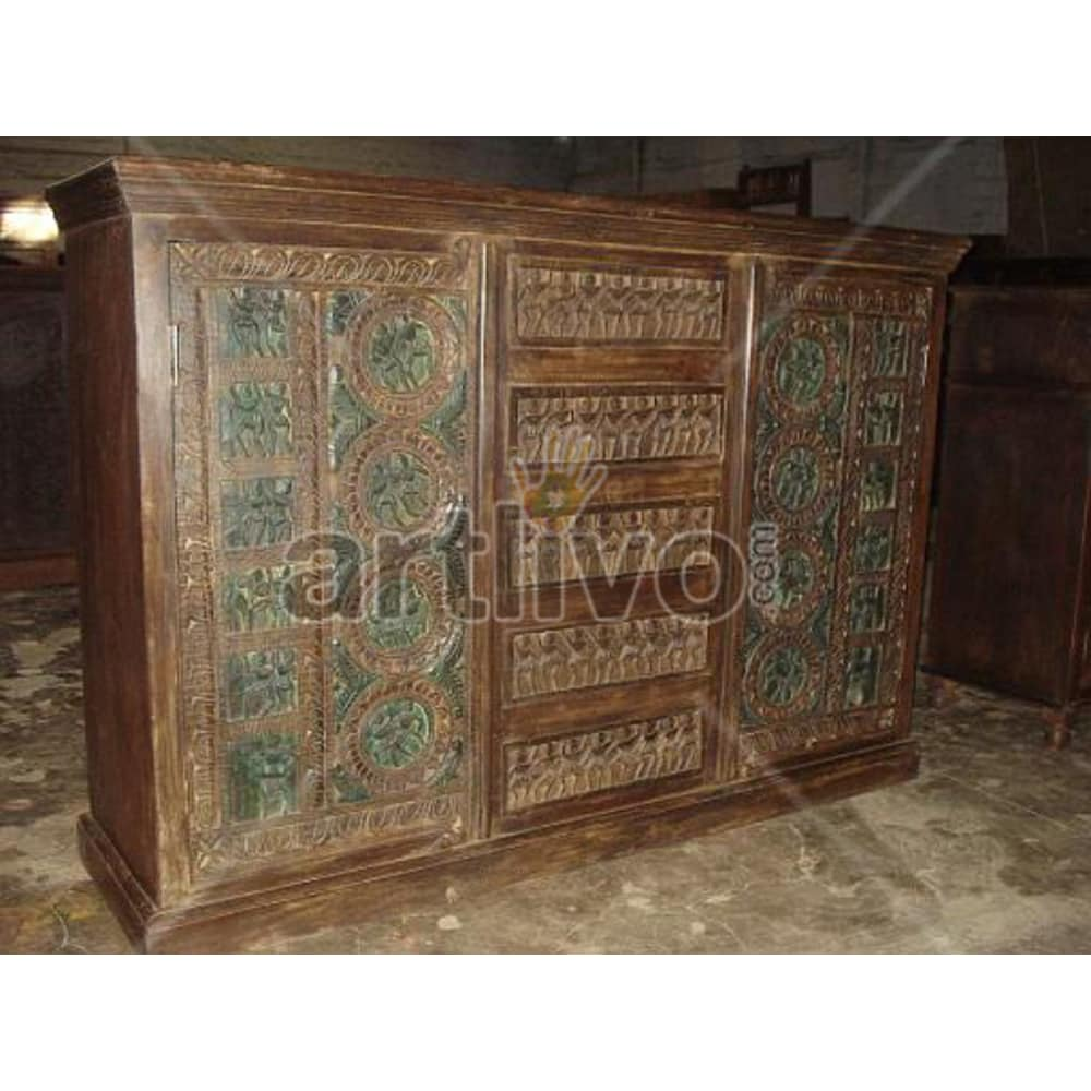 Vintage Indian Brown Opulent Solid Wooden Teak Sideboard with 5 drawer in middle and 2 door