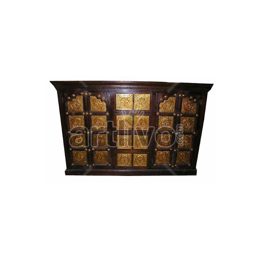 Vintage Indian Brown aristocratic Solid Wooden Teak Sideboard with bronze work on door & Drawer