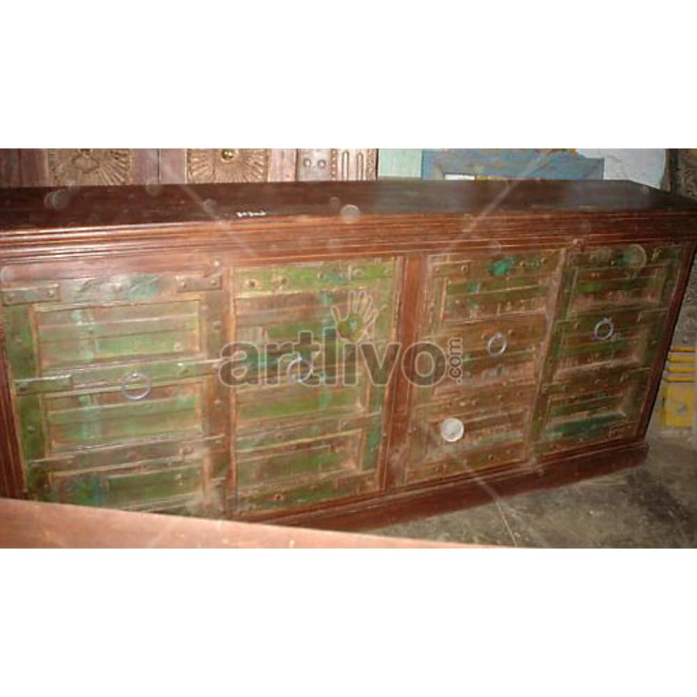 Vintage Indian Chiselled magnificent Solid Wooden Teak Sideboard with 4 door