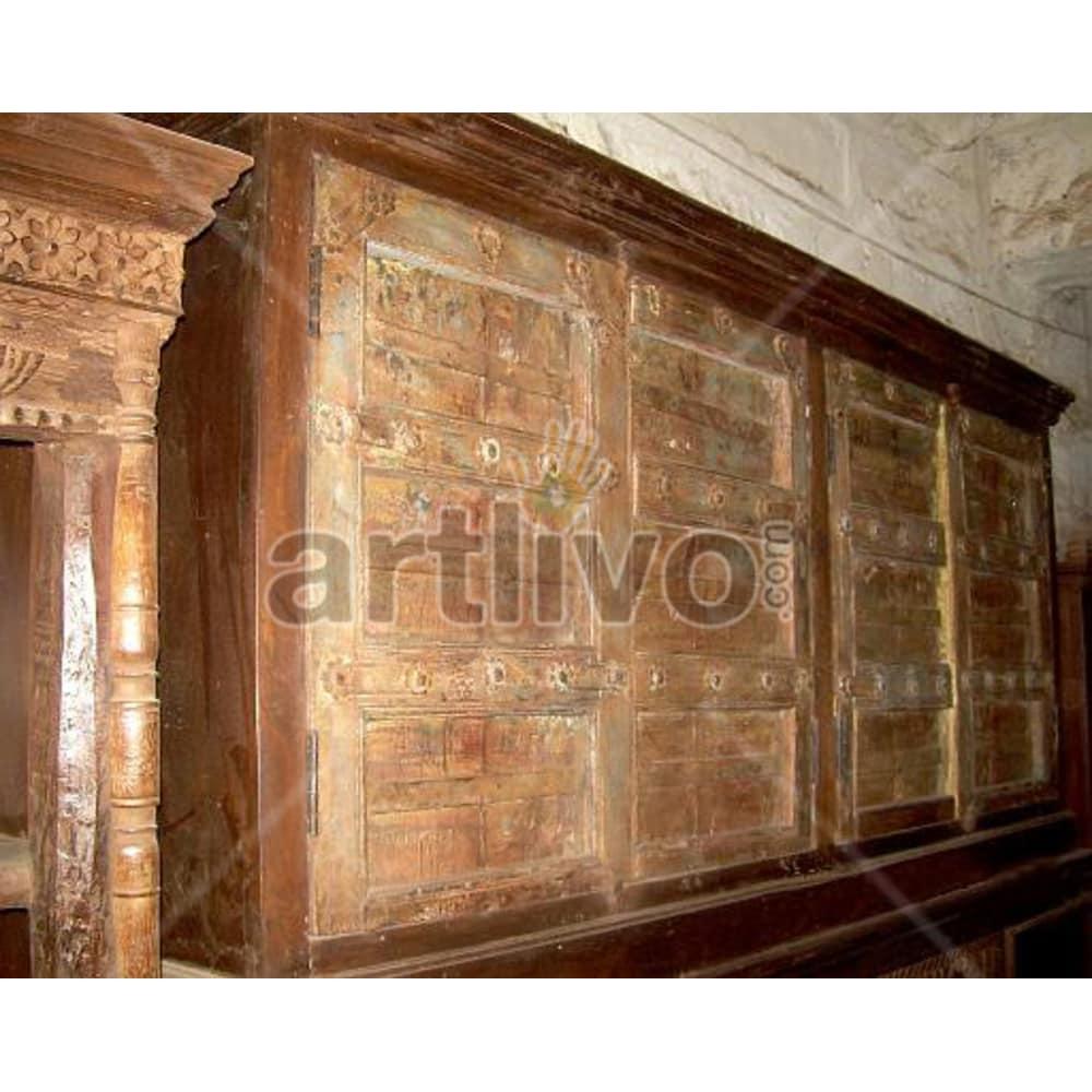 Vintage Indian Chiselled Superb Solid Wooden Teak Sideboard with 4 door & wooden knob