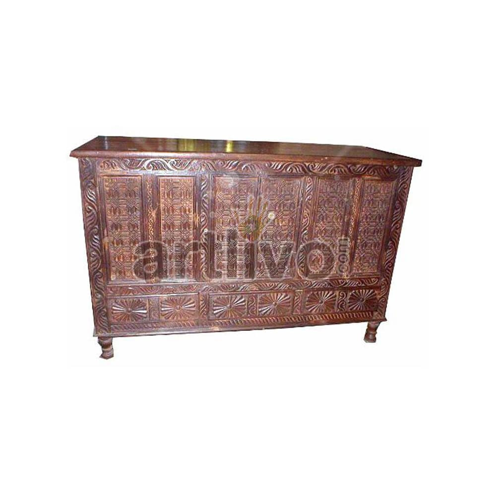 Vintage Indian Engraved Luscious Solid Wooden Teak Sideboard with chisseled work