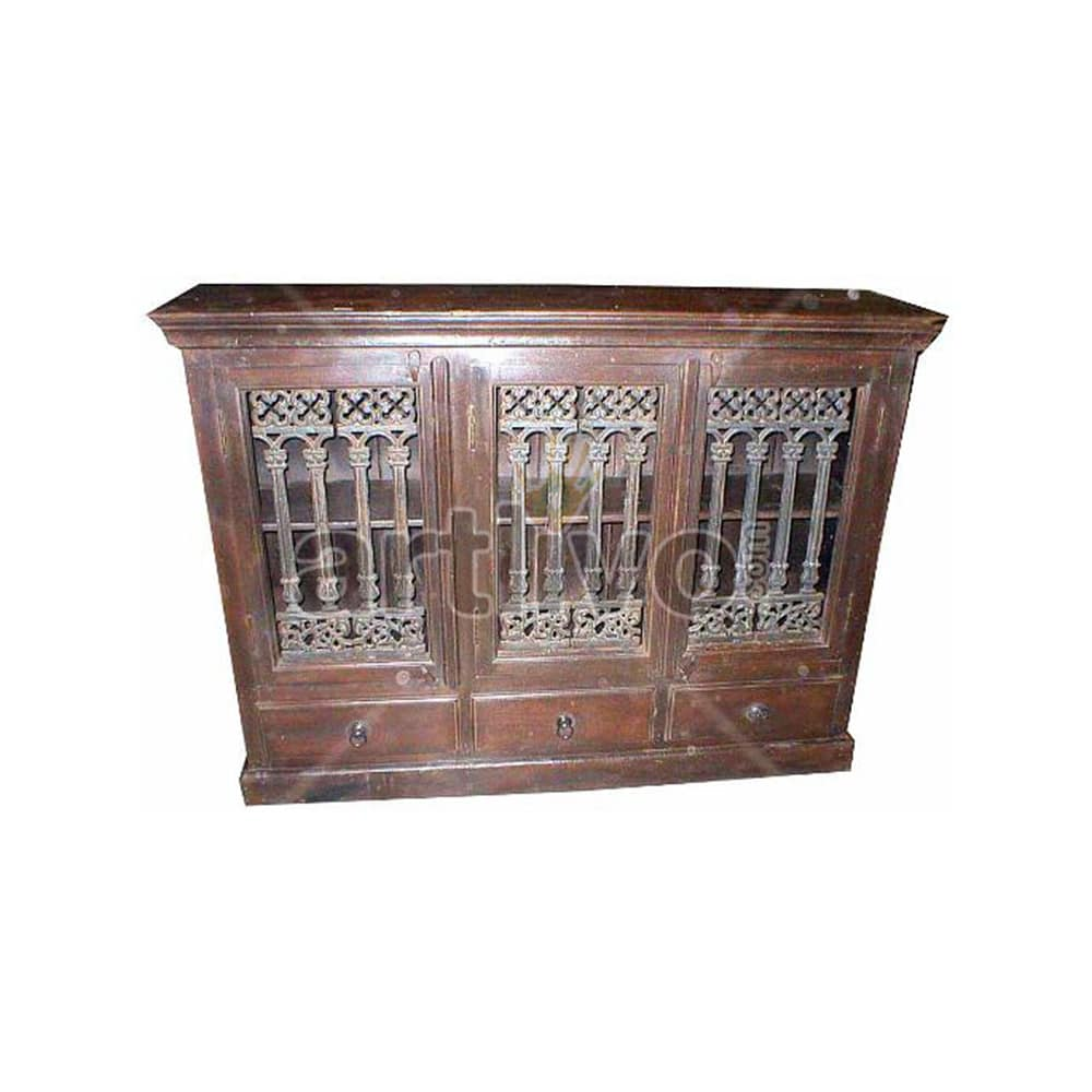 Vintage Indian Engraved Palatial Solid Wooden Teak Sideboard with 3 door 3 drawer