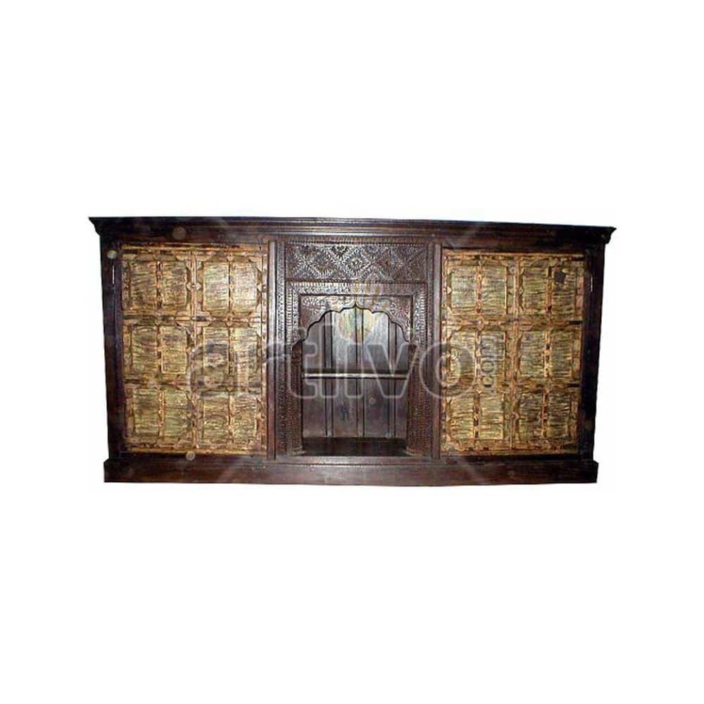 Vintage Indian Engraved aristocratic Solid Wooden Teak Sideboard