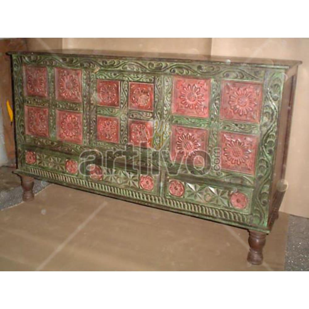 Vintage Indian Sculpted illustrious Solid Wooden Teak Sideboard