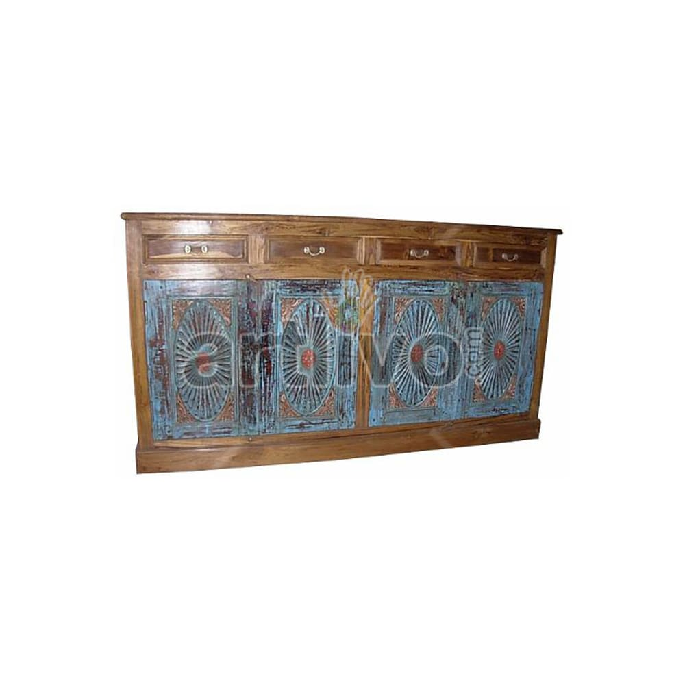 Vintage Indian Beautiful Palatial Solid Wooden Teak Sideboard