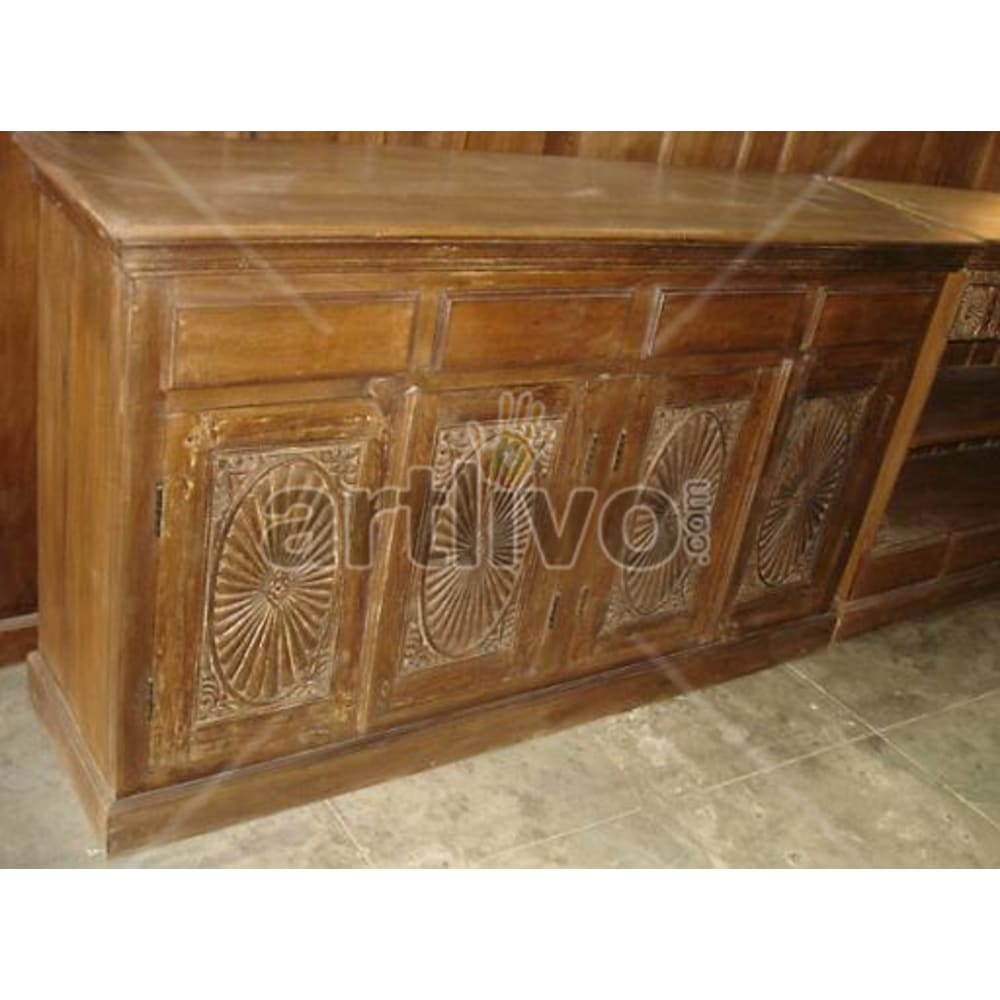 Vintage Indian Beautiful magnificent Solid Wooden Teak Sideboard