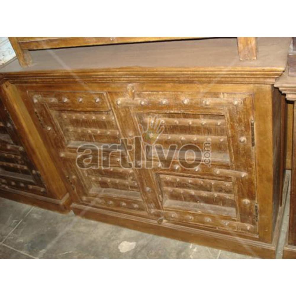 Antique Indian Carved Unique Solid Wooden Teak Sideboard