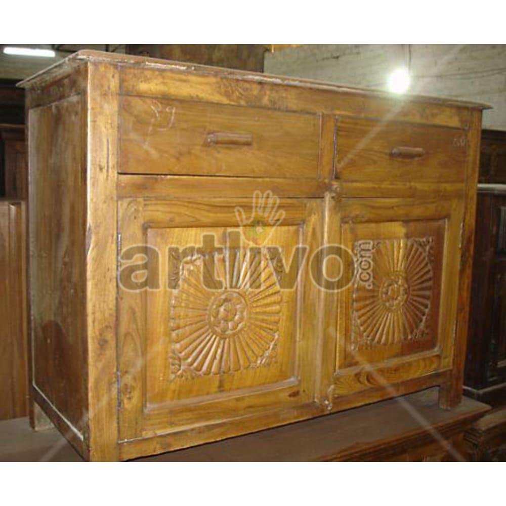 Antique Indian Carved Extravagant Solid Wooden Teak Sideboard