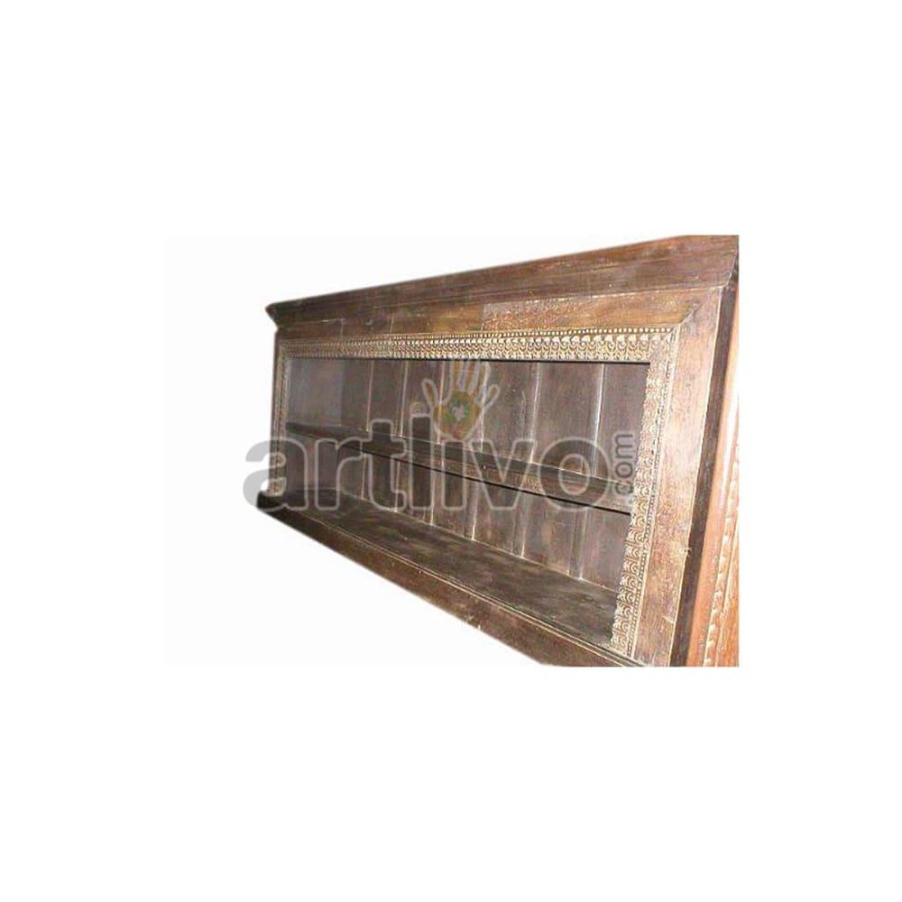 Antique Indian Brown Superb Solid Wooden Teak Sideboard